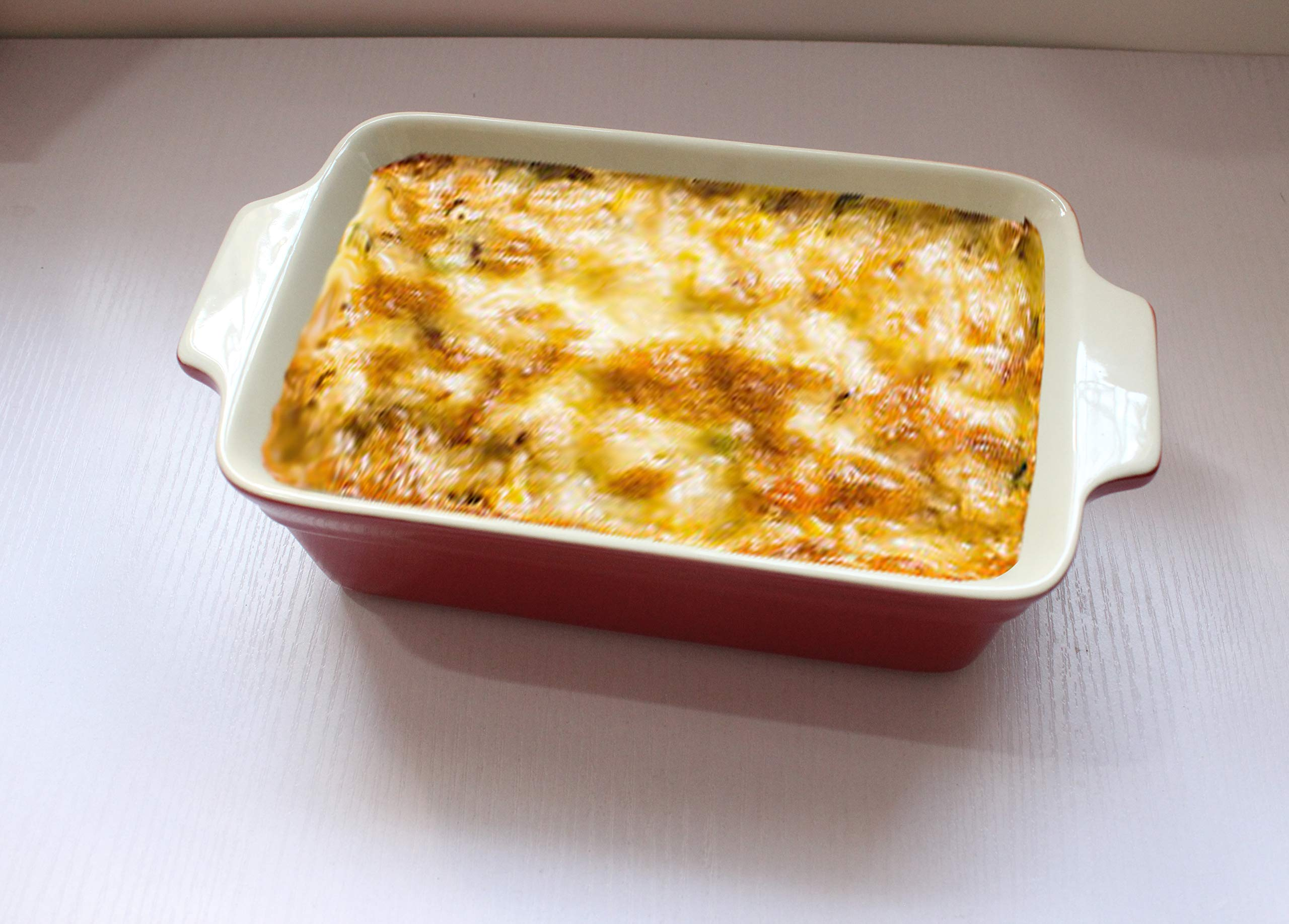 Lonovel Rectangular Baking Dish Roasting Lasagna Pan,11.5-Inch Classic Stoneware Ceramic Large Rectangular Bakers,Red by Lonovel (Image #5)