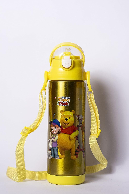Carattere Kids Water Bottle Winnie the Pooh 500ml Bottiglia per scuola, borraccia bottiglia per sport, campeggio, ciclismo, mantenendovi idratati, Favourite Kids character (giallo) Forever