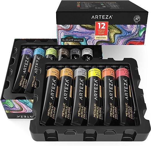 Arteza Pintura acrílica metálica | 12 colores | 12 tubos de 22 ml ...
