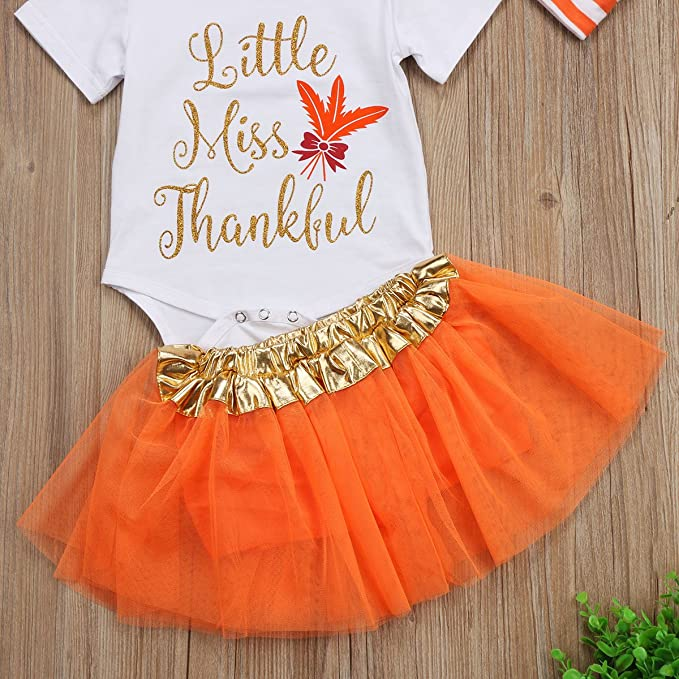 728df0f267f3 Tutu Skirt Leg Warmers Headband 4PCS Set sweetyhouse Infant Baby Girls  Thanksgiving Outfit Newborn Romper Tops