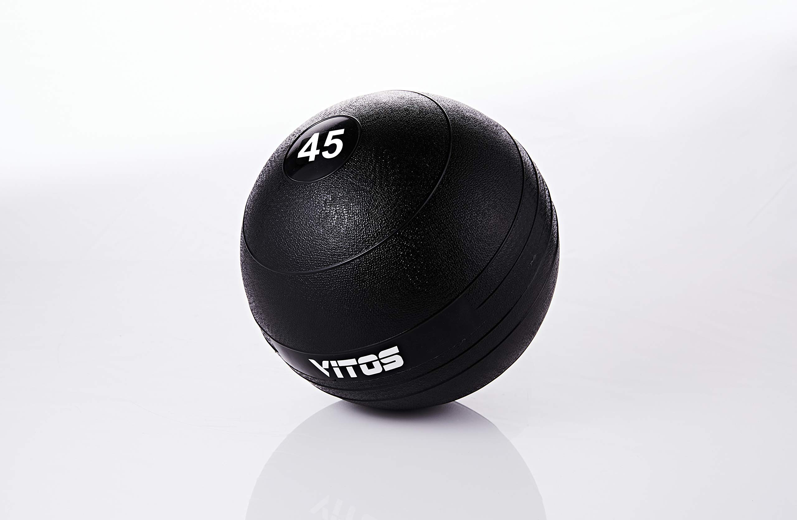 Vitos Fitness Exercise Slam Medicine Ball 10 to 70 Pounds | Durable Weighted Gym Accessory Strength Conditioning Cross Training Core Squats Lunges Spike Ball Rubber Weight Workout (45)
