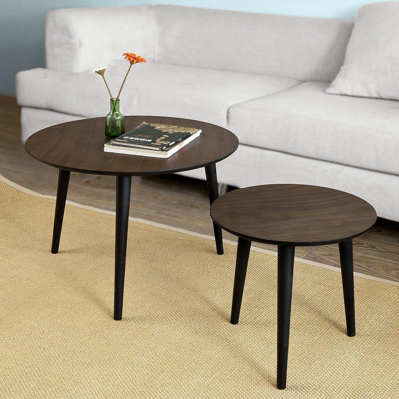 SoBuy® Set di 2 tavolini da salotto, Tavolino da caffè,rotondo, in ...