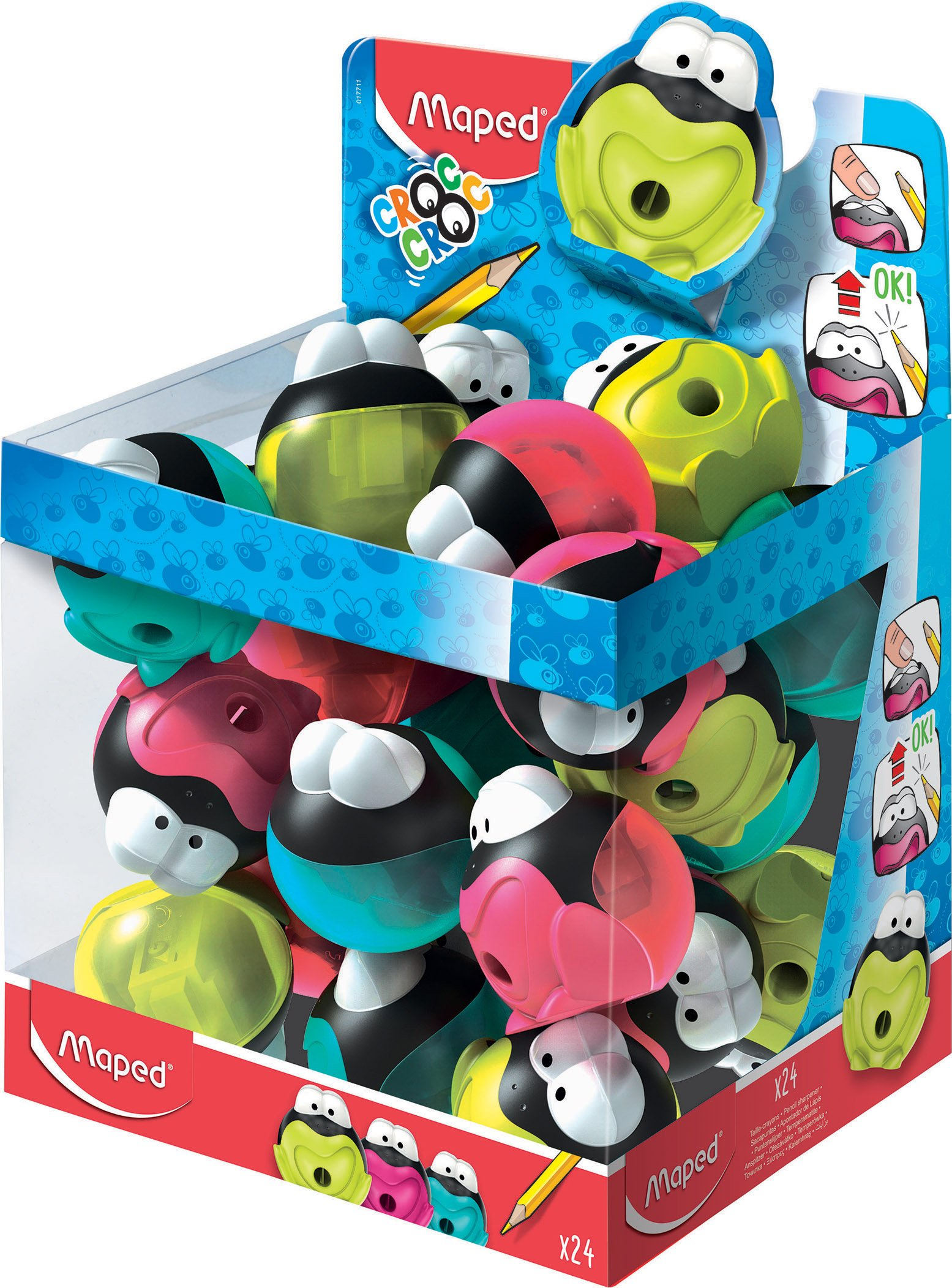 Maped Croc Croc Frog One Hole Canister Pencil Sharpener (Box of 24 in Assorted Colours) by Maped