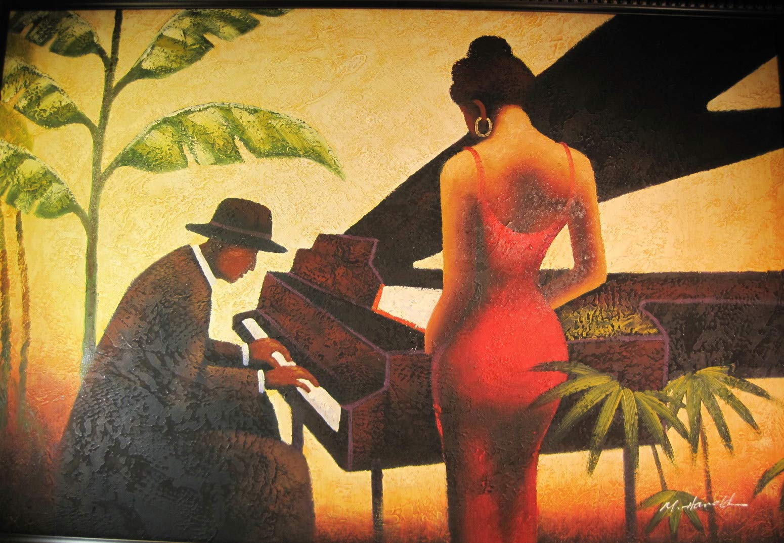 Jazz Pianist & Singer on Canvas Giclee' Painting, M Harold (Artist) 36 x 24 Inches (Painting), 42.5 x 30.5 Inches (Overall) by Jazz Pianist & Singer