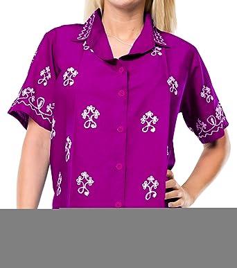 LA LEELA Camiseta de Manga Corta Blusa de rayón Relajado Mujeres Bordadas Tapa Floja Playa Ocasional de la Camisa Violeta m: Amazon.es: Ropa y accesorios