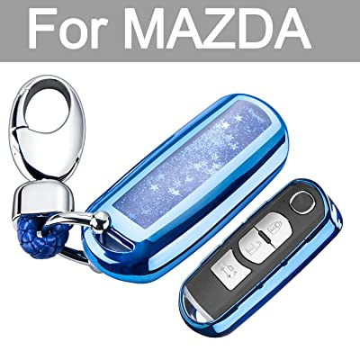 YIJINSHENG Chrome Blue TPU Car Key Fob Cover Case for Mazda 2 3 5 6 8 CX3 CX5 CX7 CX9 MX5 Smart Remote Key Protective Shell with Key Chain (Blue): Automotive