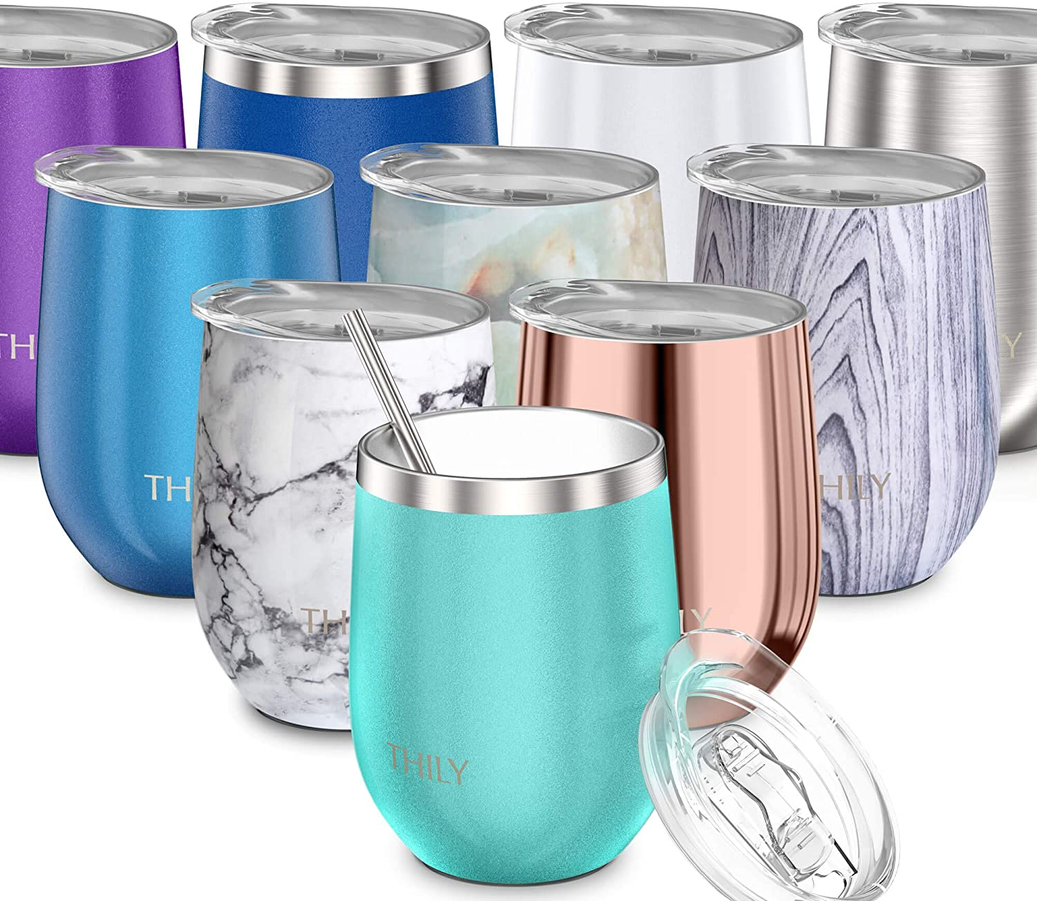 Stainless Steel Stemless Wine Glass - THILY T1 Triple Vacuum Insulated Travel Wine Tumbler Cup with Lid and Reusable Straw, 12 oz, Keep Drinks Cold or Hot, Teal