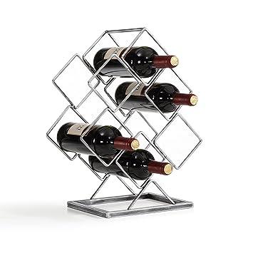 Danya B  Antique Silver Electroplated 6 Bottle Wine Rack. Amazon com  Danya B  Antique Silver Electroplated 6 Bottle Wine
