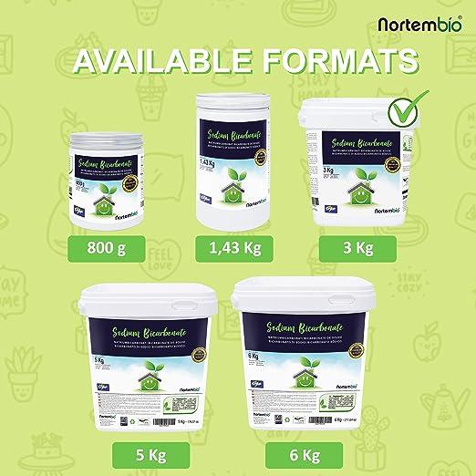 NortemBio Bicarbonato de Sodio 3 Kg, Insumo Ecológico de Origen ...
