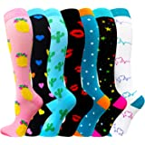 Compression Socks for Women & Men(1/3/7/8 Pack) - Best for Running,Medical,Nurse,Travel,Cycling-20-30mmHg