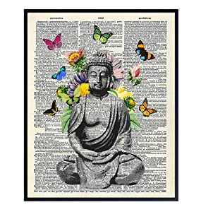 Butterfly Buddha Dictionary Wall Art Print - 8x10 Photo, Home Decor, Meditation Room or Yoga Studio Decoration - Unique Zen Gift - Unframed Poster Picture