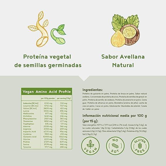 Proteina Vegana | AVELLANA | Proteína vegetal de arroz, guisantes, semillas de lino, amaranto, semillas de girasol y semillas de calabaza germinadas | ...