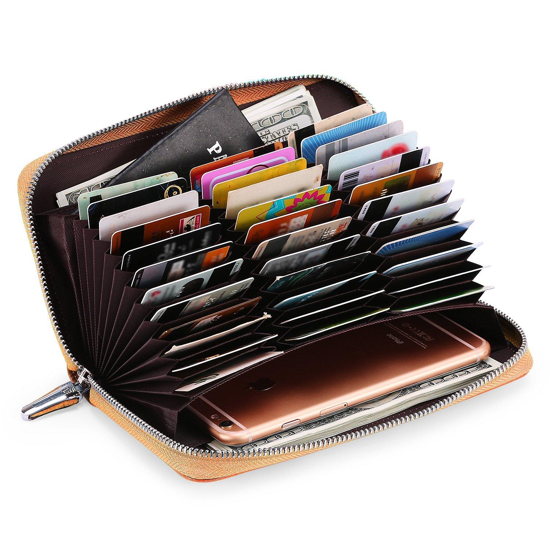 AINIMOER Women's Big 36 Slots Leather RFID Blocking Large Capacity clutch organizer Purse Long Zip Passport Checkbook Wallet (Lichee Yellow)