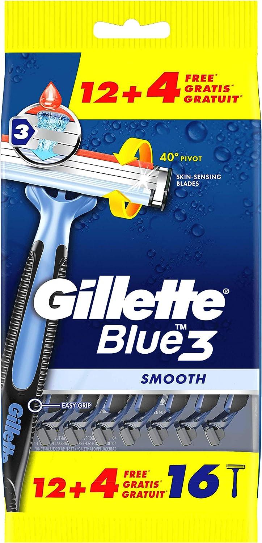Gillette Blue3 Maquinillas Desechables para Hombre 12+4
