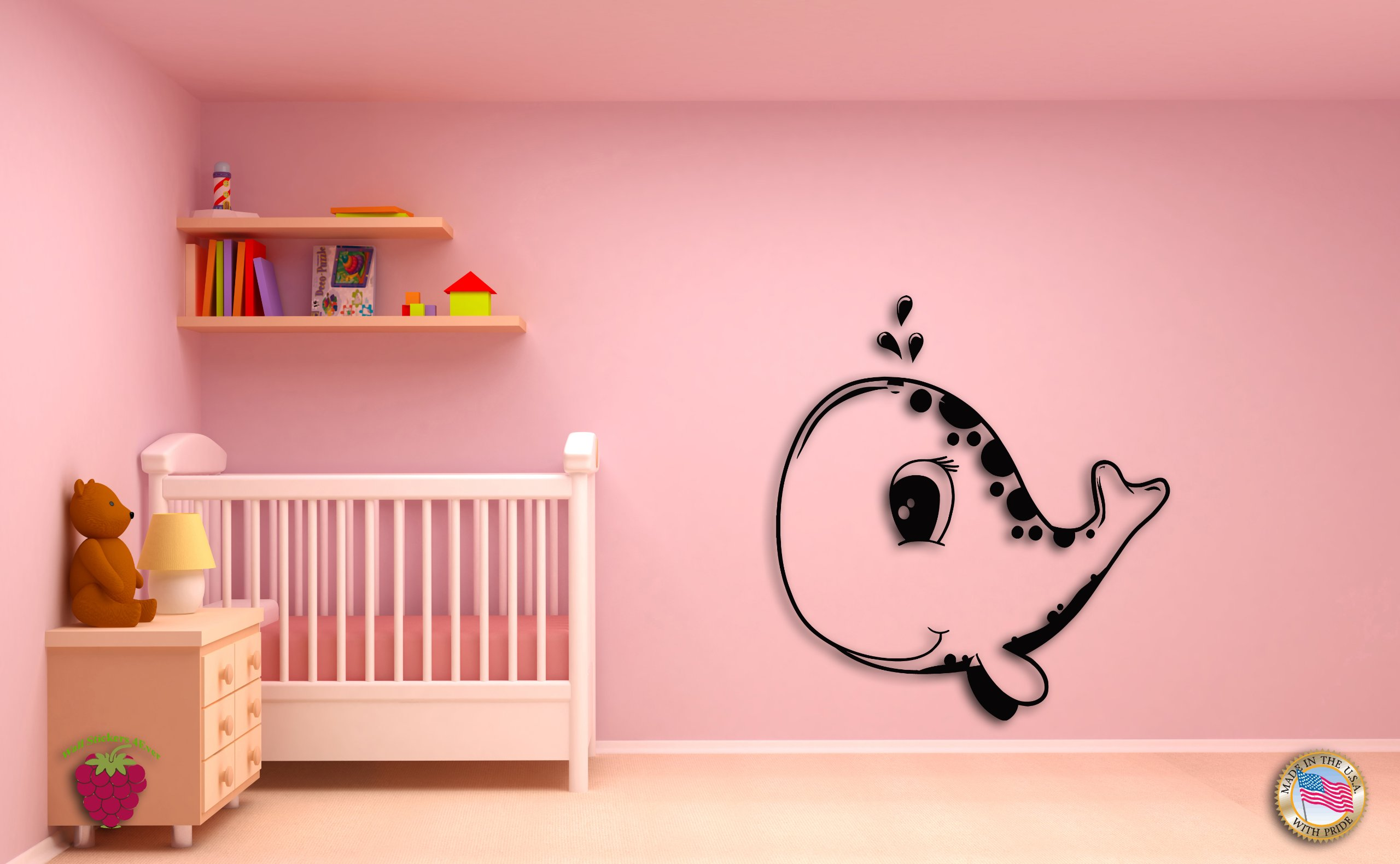 Wall Stickers Whale Fish Kids Baby for Nursery room z1438