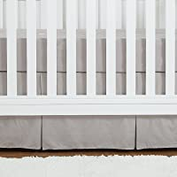 """TILLYOU Pleated Crib Skirt Dust Ruffle, 100% Natural Cotton, Nursery Crib Toddler Bedding Skirts for Baby Boys and Girls, 14"""" Drop/Gray"""