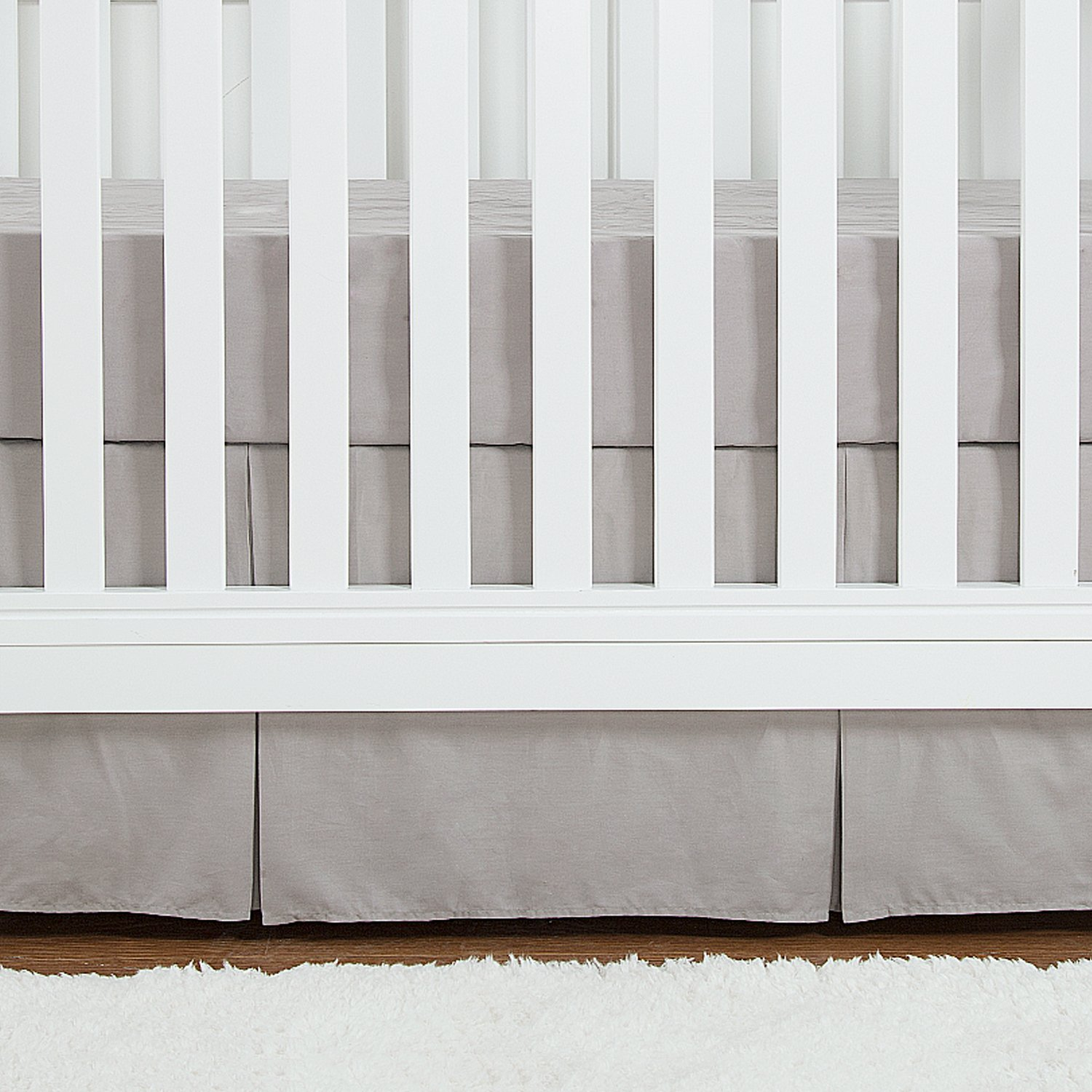 TILLYOU Crib Bed Skirt Pleated, 100% Natural Cotton, Nursery Crib Bedding for Baby Boys and Girls, 14 Drop/Gray 14 Drop/Gray Smile Textile
