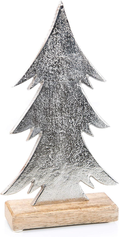 silber 40 cm Weihnachtsbaum Tannenbaum Holz Figur /& Stern aus Metall braun