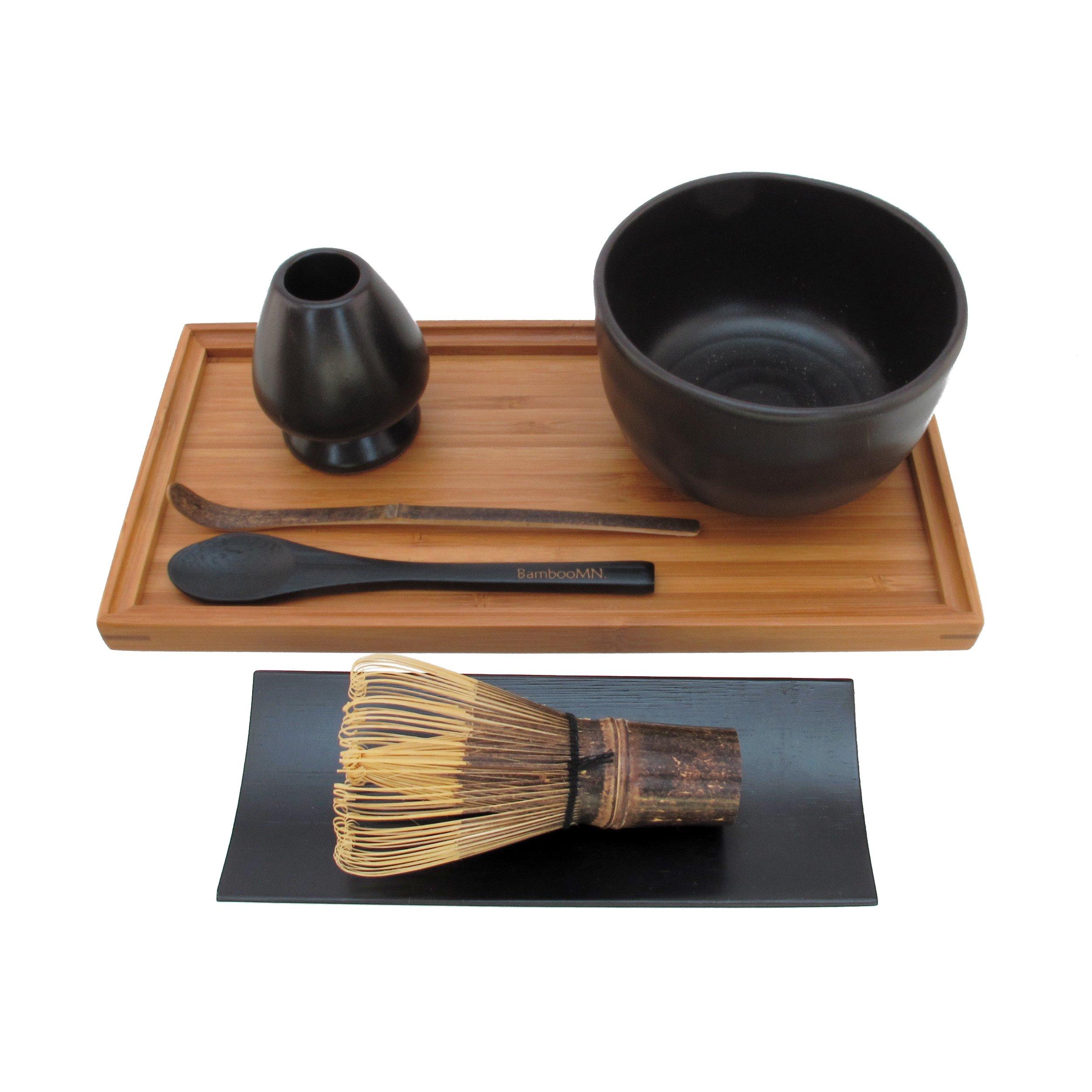 BambooMN Brand - Matcha Bowl Set (Includes Bowl, Rest, Black Tea Whisk, Black Chasaku, Black Tea Spoon, Rest Tray & Tray) - Black by BambooMN