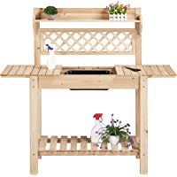 Yaheetech Garden Potting Bench with Sliding Tabletop