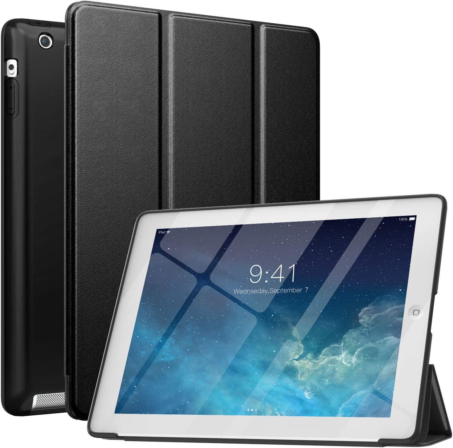 MoKo Case Fit iPad 2/3/4, Slim Smart Shell Stand Folio Case with Soft TPU Back Cover Compatible with iPad 2/The New iPad 3 (3rd Gen)/iPad 4, Auto Wake/Sleep - Black