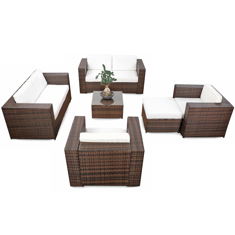 erweiterbares 20tlg. Polyrattan Lounge Gartenmöbel Sofa Set XXXL - braun-mix - Garnitur Sitzgruppe Sitzgruppe Loungemöbel Set - inkl. Lounge Sofa + Sessel + Hocker + Tisch + Kissen