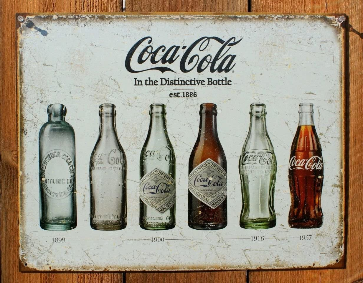 Tin Sign   Metal Wall Sign Decor   Coca Cola Bottle Collection History 8 x 12 in   Decoration for Home Bar Garage Kitchen Room   Vintage & Retro Style