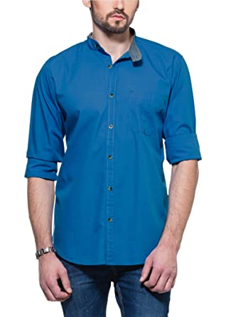 2528362d9 Zovi Cotton Regular Fit Casual Royal Blue Solid Shirt with Mandarin Collar  1051630770146