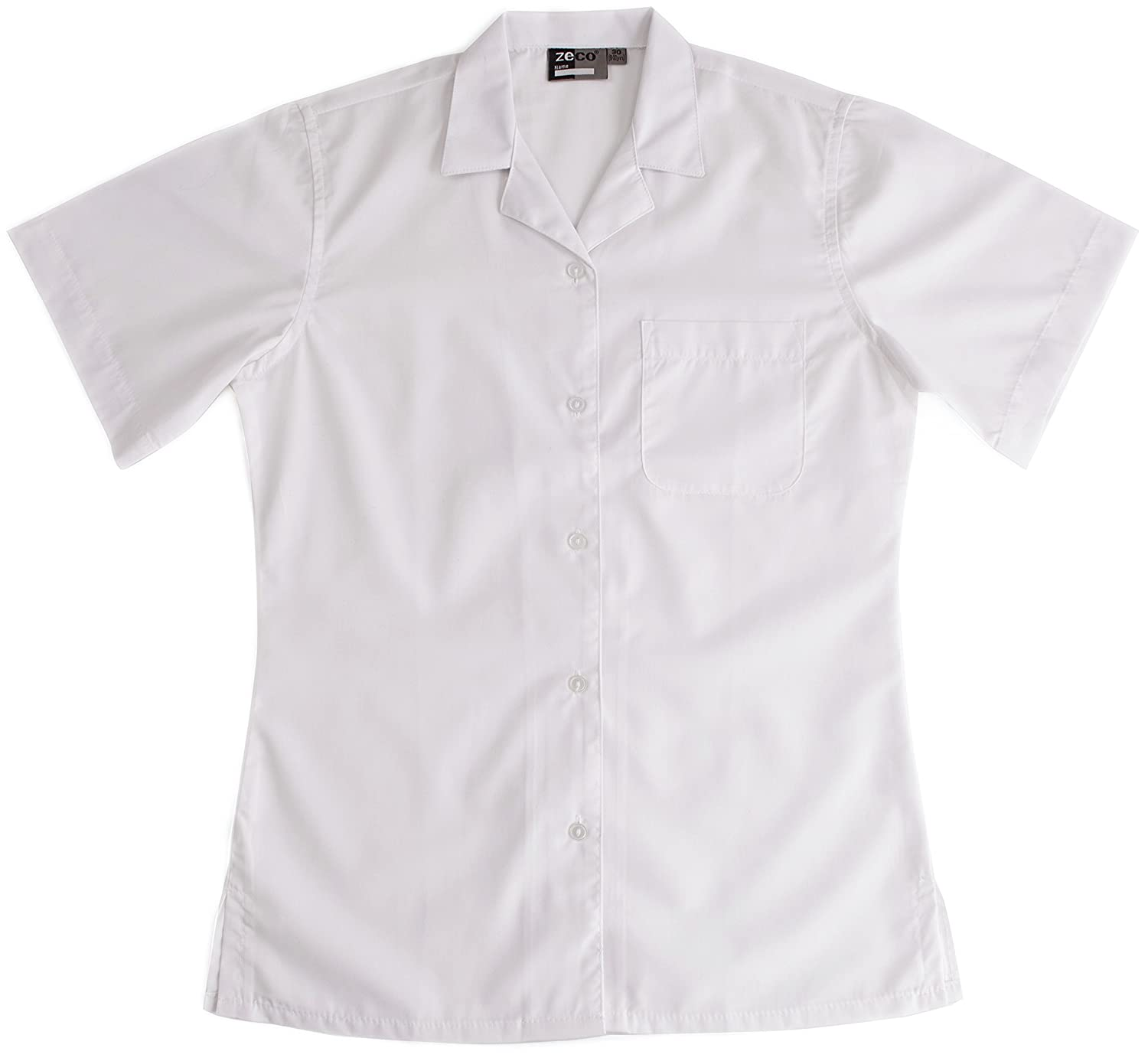 Ladies Girls School Uniform White Blue Short Sleeve Rever Collar Blouse  Shirt Chest 24 - 42: Amazon.co.uk: Clothing