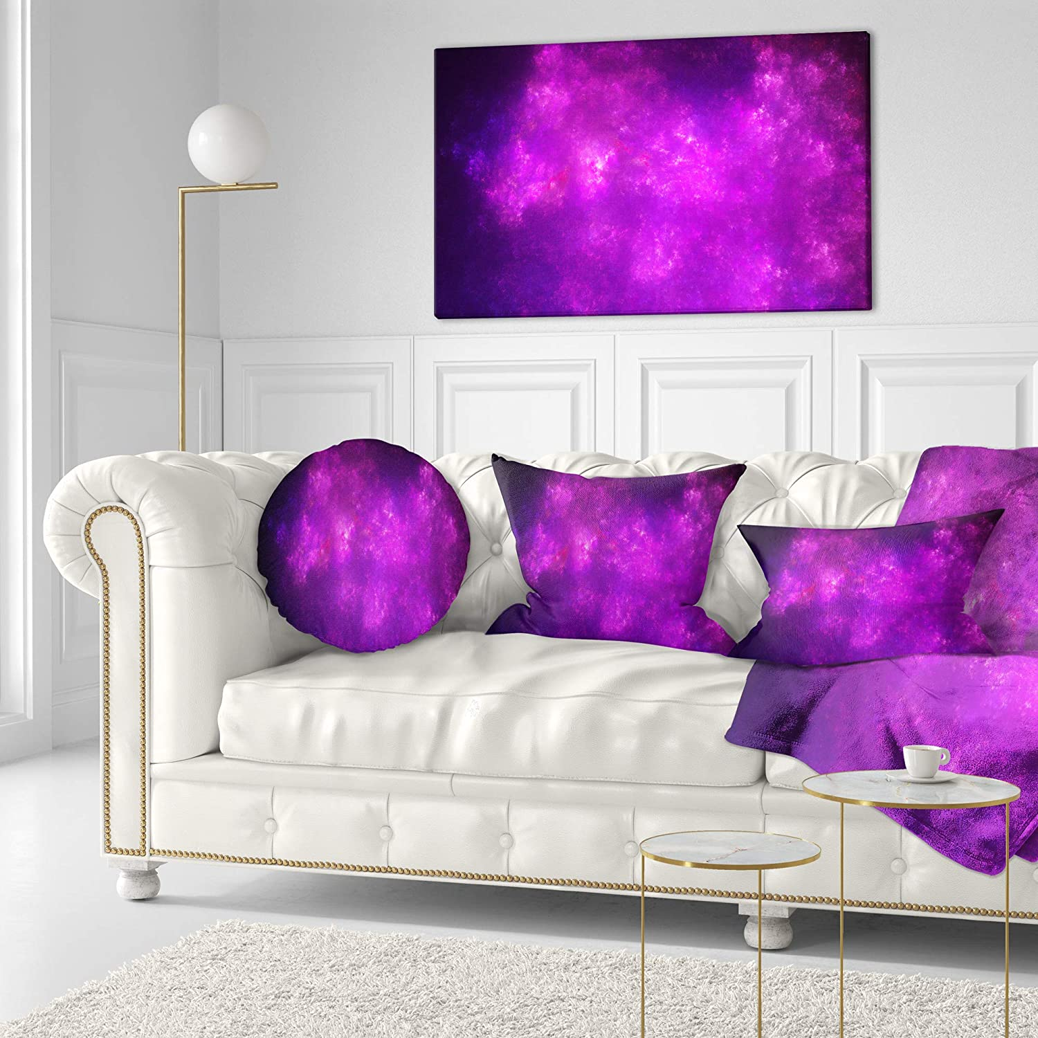 Designart CU16372-16-16-C Purple Starry Fractal Sky Abstract Round Cushion Cover for Living Room Sofa Throw Pillow 16 Inches
