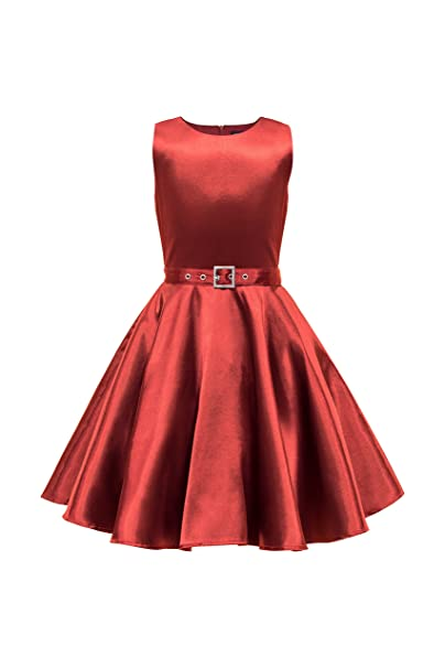 Vestido vintage de saten rojo oscuro