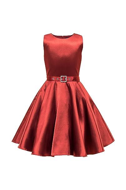 BlackButterfly Niñas Satén Audrey Vestido Vintage Años 50 Clarity (Rojo Oscuro, 13