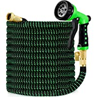 HBlife 25ft Garden Hose, All New 2020 Expandable Water Hose with 3/4″ Solid Brass Fittings, Extra Strength Fabric - Flexible Expanding Hose with Free Water Spray Nozzle
