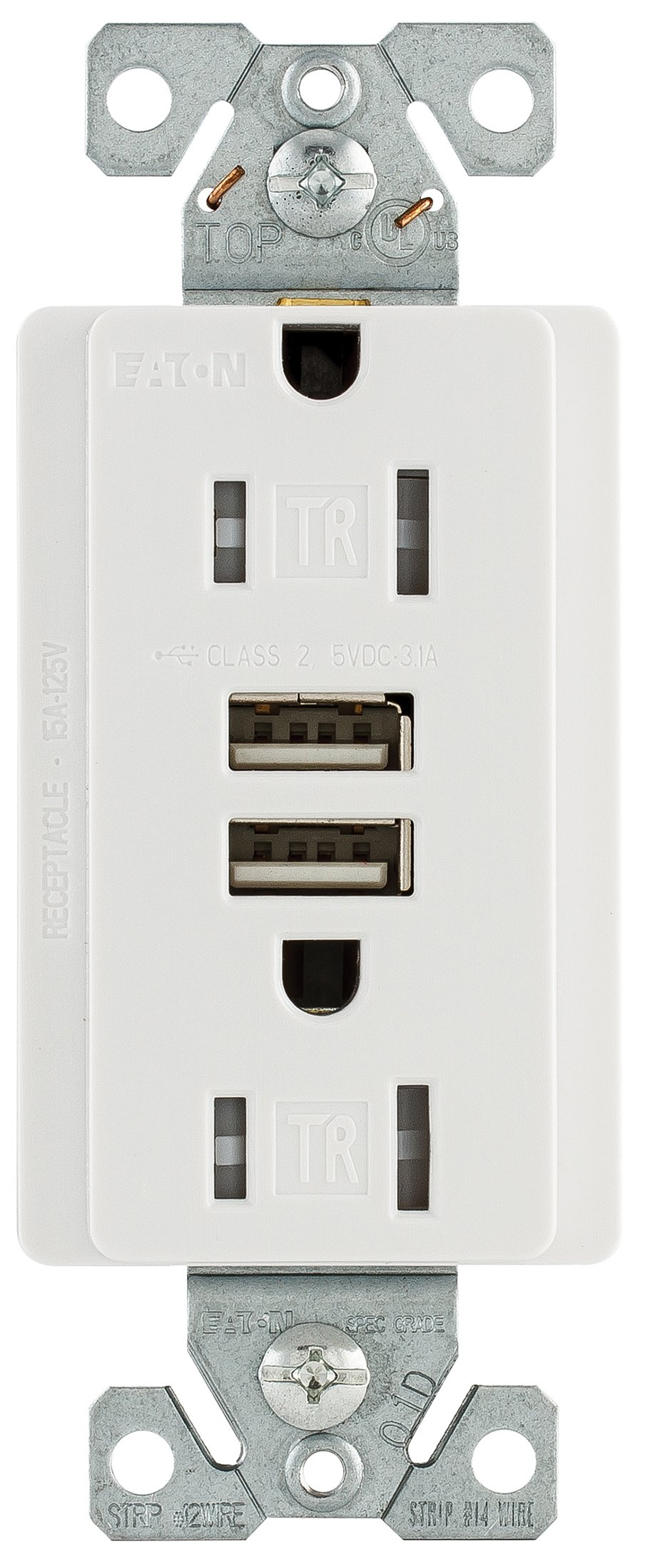 Eaton TR7755W 15 Amp 125V Combination USB 3.1A Charger with Duplex Receptacle, White