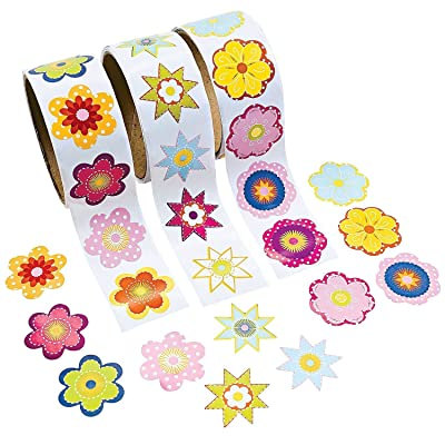 Fun Express - 3 Roll Flower Stickers (300 Piece), (1.5 inches) (2 Packs): Toys & Games