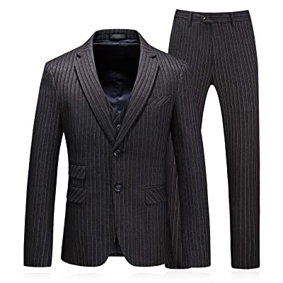 MOGU Mens Pinstripe Slim Fit 3 Piece Casual Dress Suits for Prom at Amazon Men's Clothing store