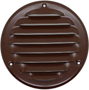 Vent Cover - Round Soffit Vent - Air Vent Louver - Grille Cover - Built-in Fly Screen Mesh - HVAC Ventilation (8'' Inch, Metal - Brown)