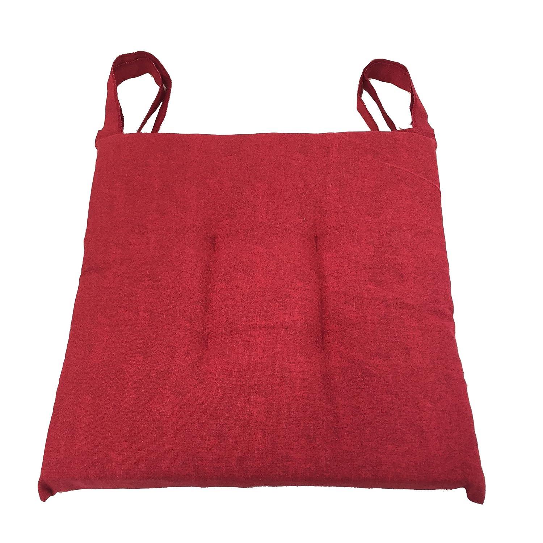 Cuscino sedia Rosso, trapuntati al centro 40x40 spessore 5 cm, copri sedia cucina, Euronovità Euronovità Srl