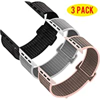 INTENY Pack 3 Compatible with Apple Watch Band 38mm 40mm 42mm 44mm, Sport Band Soft Breathable Nylon Replacement for iWatch Series 5/4/3/2/1