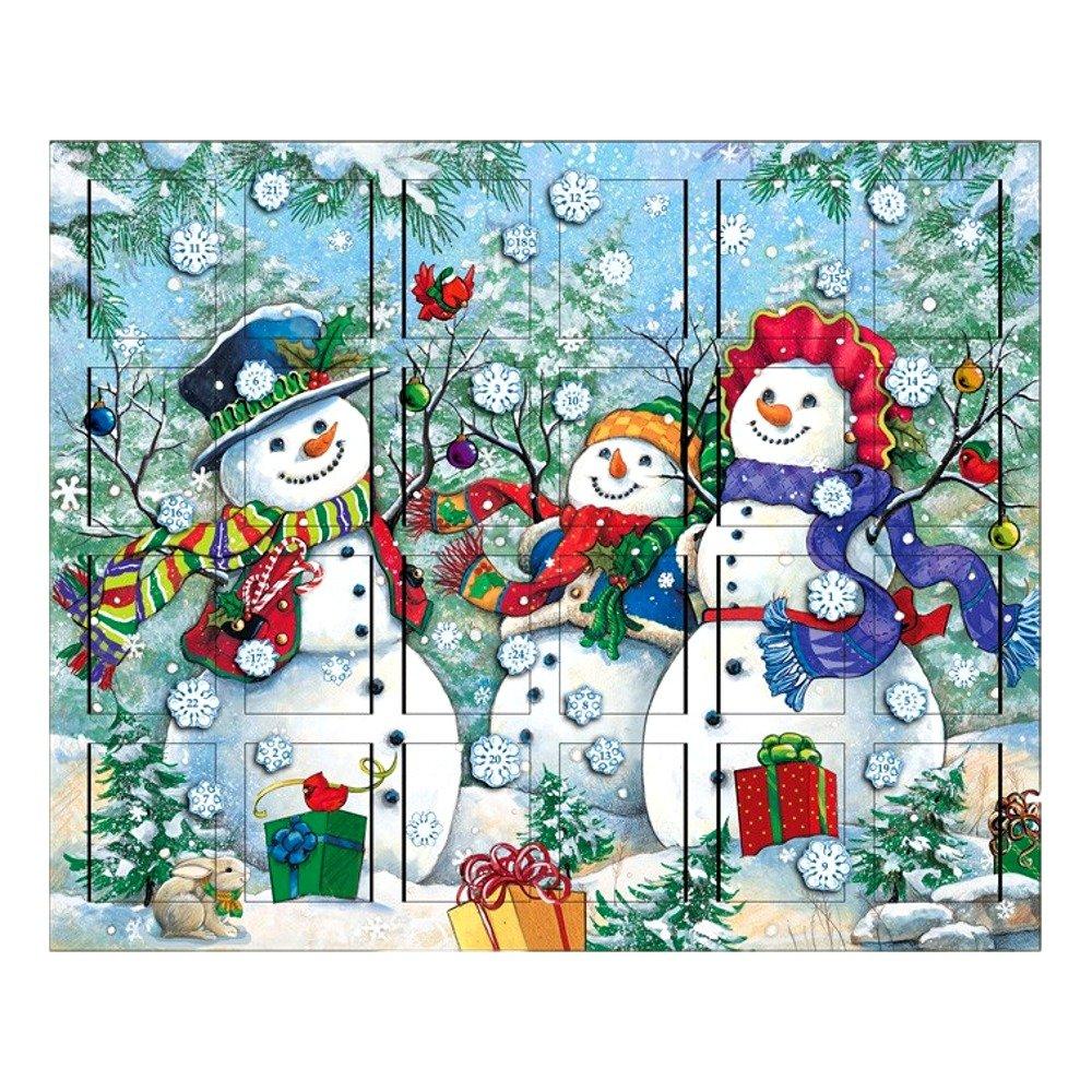 The Carolers Byers' Choice Snowman Family Wooden Advent Calendar