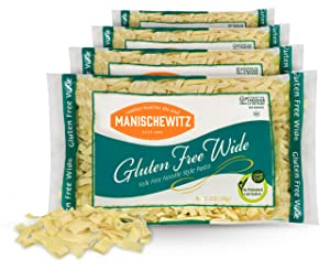 Manischewitz Gluten Free Wide Egg Noodles (4 Pack) Yolk Free, Kosher For Passover and All Year Round Use
