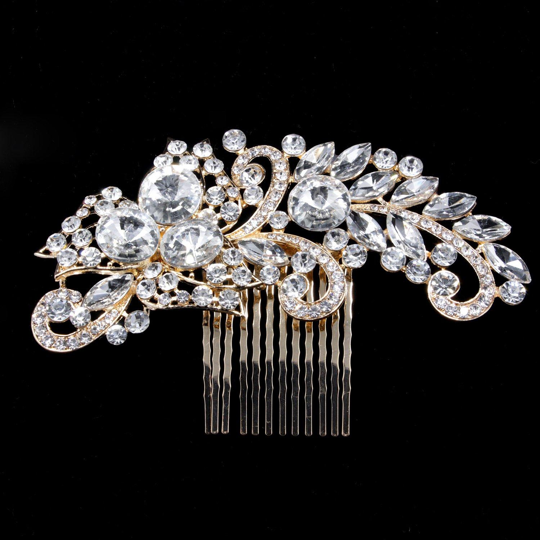 Deniferymakeup Wedding Bridal Rhinestone Hair Comb Crystal Hair Accessories Sparkling and Dazzling Finest Crystal Rhinestone Hair Comb Wedding Ornaments Bridal Head Piece (Gold) by Deniferymakeup