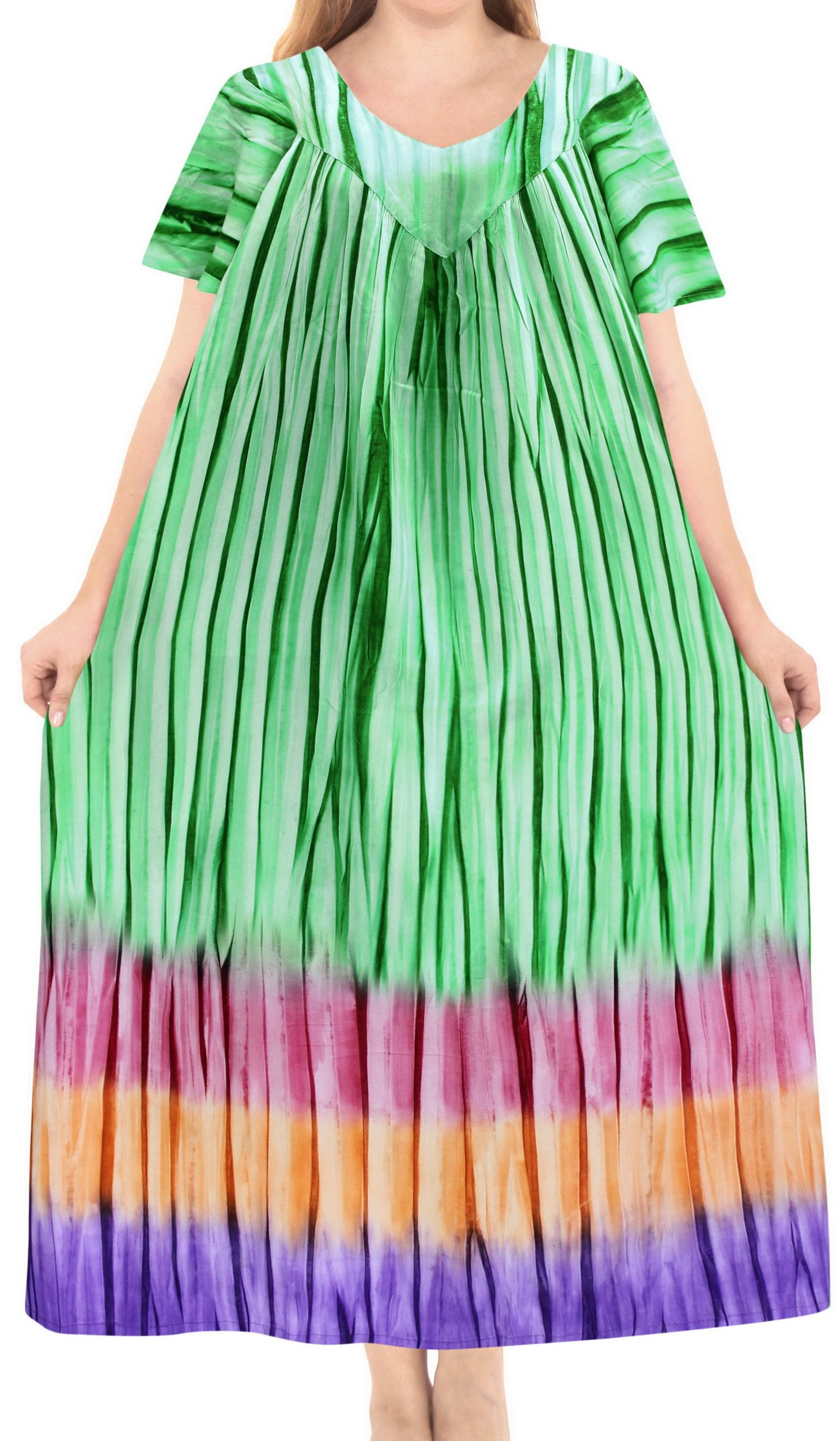 LA LEELA Cotton Tie Dye Maxi Wedding Designer Dresses Green 86 One Size