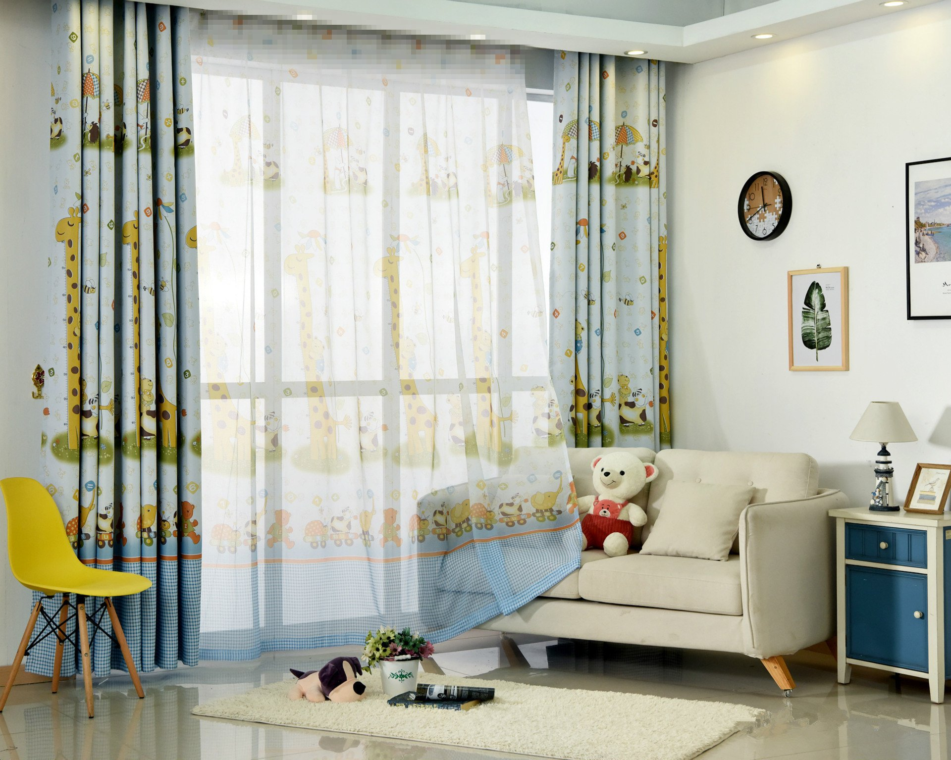 AliFish Sheer Curtains 96 Giraffe Deer Rod Pocket Tulle Sheer Voile Panel Curtains Lovely Zoo Animals Window Curtains/Draperies/Panels for Kids Room Bedroom 1 Panel W39 x L96 inch