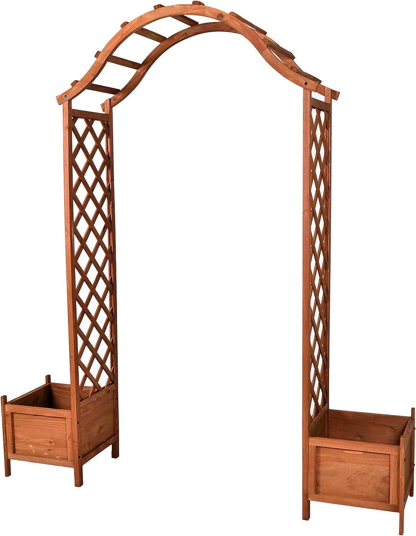 Rose arco de madera con 2 contenedor portería con arco para enredaderas Maceta Pergola: Amazon.es: Jardín