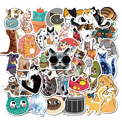 MINRAIN Cartoon Cute Cat Vinyl Stickers 50 Pcs Waterproof Aesthetic Trendy Water Bottles Stickers Suitable for Hydro Flask,Laptop,Phone,Travel,Sharing,Yeti, Car for Teen Girls (Cute Cat): Toys & Games