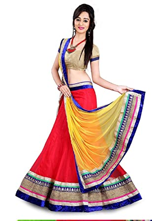 70ed903df72a9c Labhde Women s Net Lace Red Yellow Lehenga Choli  Amazon.in ...
