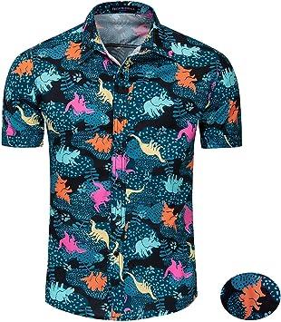 Versacec Camisa de Manga Corta para Hombres,Camisa Transpirable de algodón Estampado Dinosaurio Camisa de Manga Corta Casual de Verano,2XL: Amazon.es: Deportes y aire libre