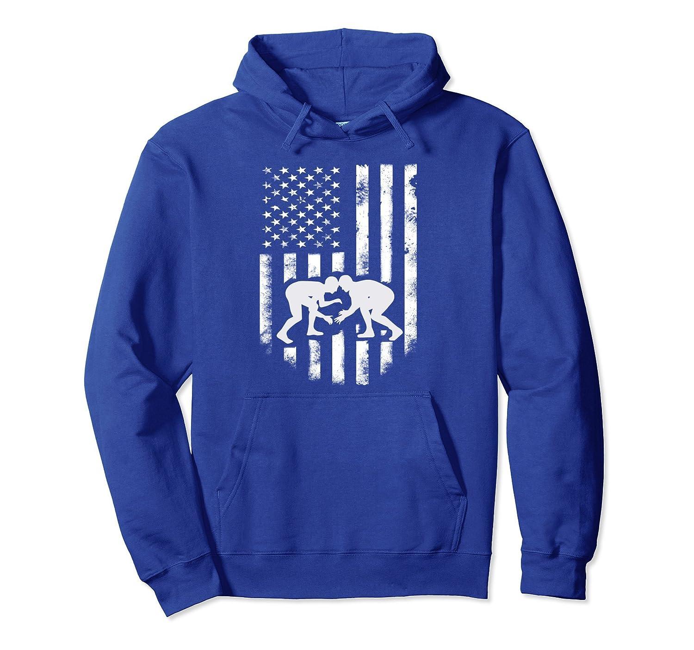 American Flag Wrestling Hoodie Distressed Wrestle Gift Tee-ln