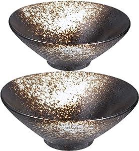PCheng Porcelain Soup Bowls, 24 Ounces Japanese Ramen Noodle Bowl set of 2 for Soup, Pho, Udon, Soba and Wonton (White Pattern)